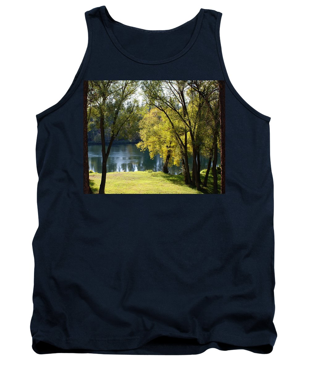 Nature Tank Top featuring the photograph Picnic Spot On Spokane River by Ben Upham III