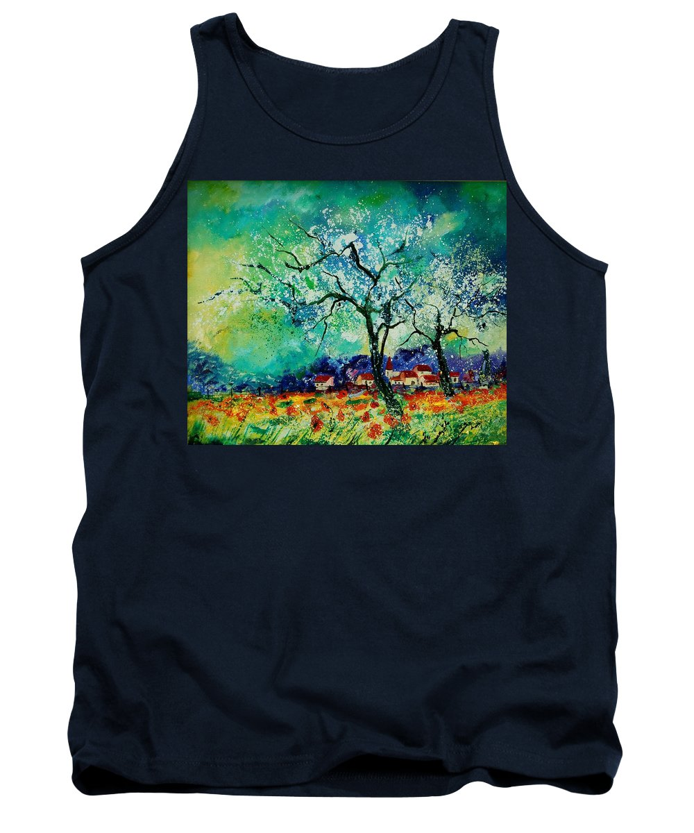 Landscape Tank Top featuring the painting Poppies And Appletrees In Blossom by Pol Ledent