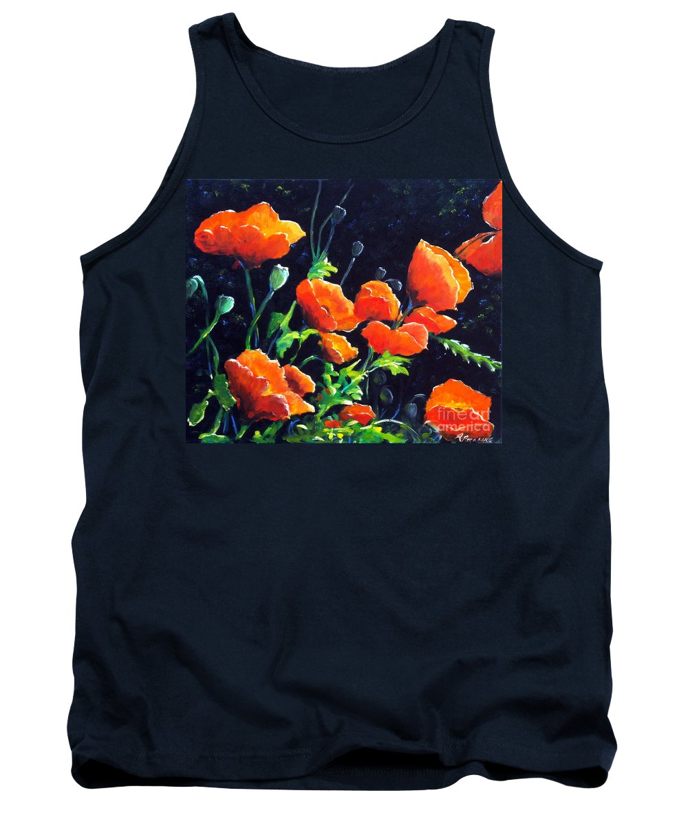 Pavot Tank Top featuring the painting Poppies In The Light by Richard T Pranke
