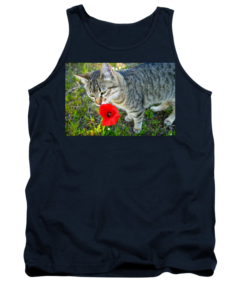 Cat Tank Top featuring the photograph Poppy Love by Sabina Sciacca