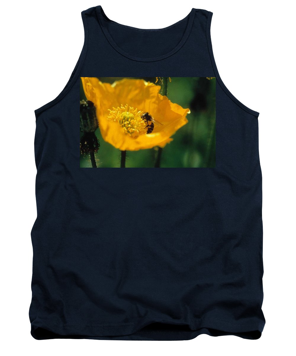 California Poppy Tank Top featuring the photograph Poppy With Bee Friend by Laurie Paci
