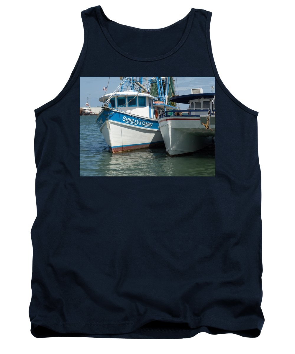 Florida; Usa; Boat; Fishing; Boats; Party; Shrimp; Shrimper; Shrimp; Port; Harbor; Harbour; Canavera Tank Top featuring the photograph Port Canaveral In Florida by Allan Hughes