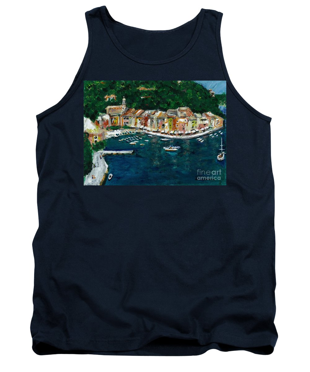Abstact Italy Tank Top featuring the painting Portifino Italy by Frances Marino
