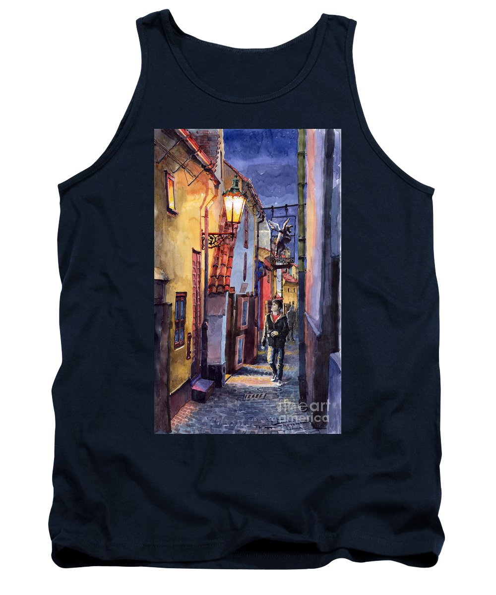 Goldenline Tank Top featuring the painting Prague Old Street Golden Line by Yuriy Shevchuk