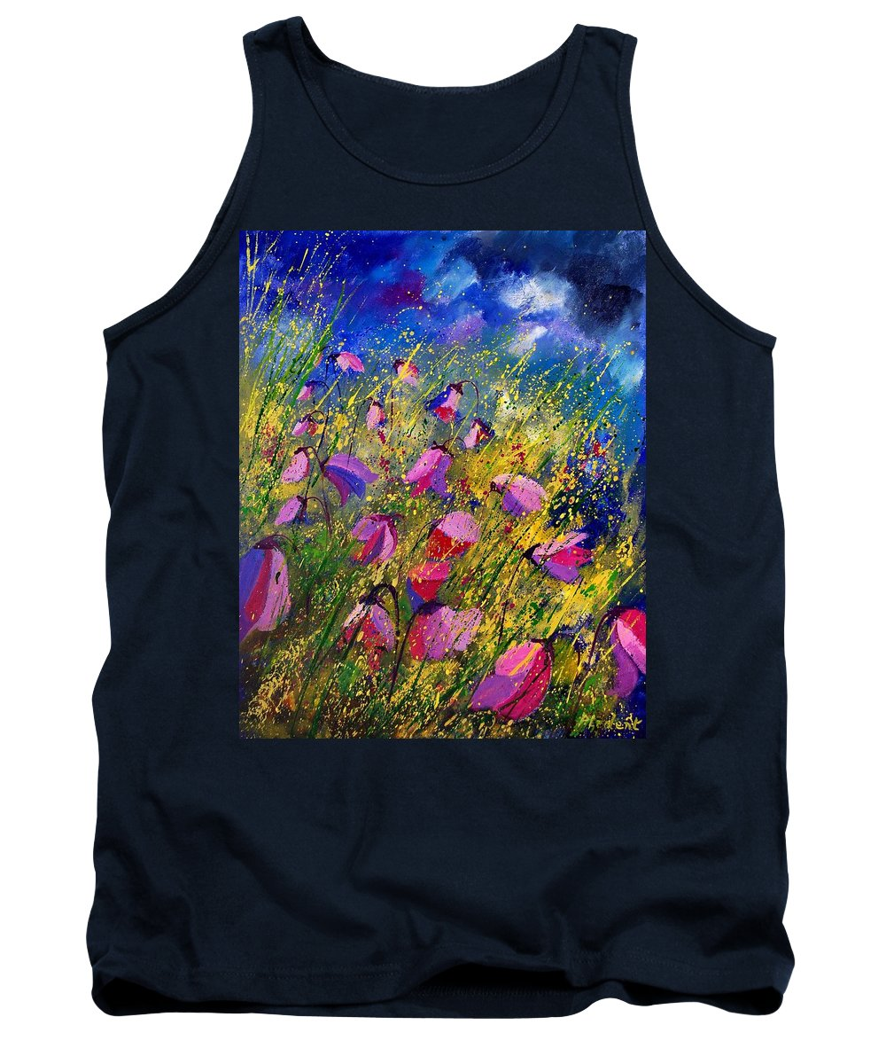 Poppies Tank Top featuring the painting Purple Wild Flowers by Pol Ledent
