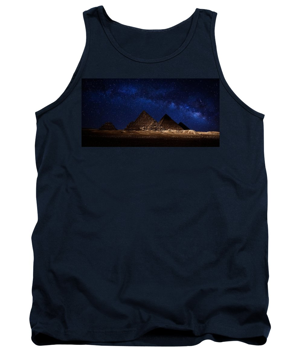 Milky Way Tank Top featuring the photograph Pyramids Milky Way by Nasser Osman