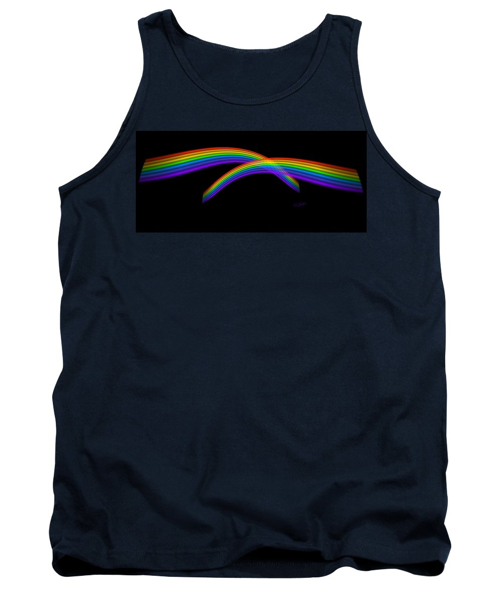 Rainbow Tank Top featuring the digital art Rainbow Waves by Charles Stuart