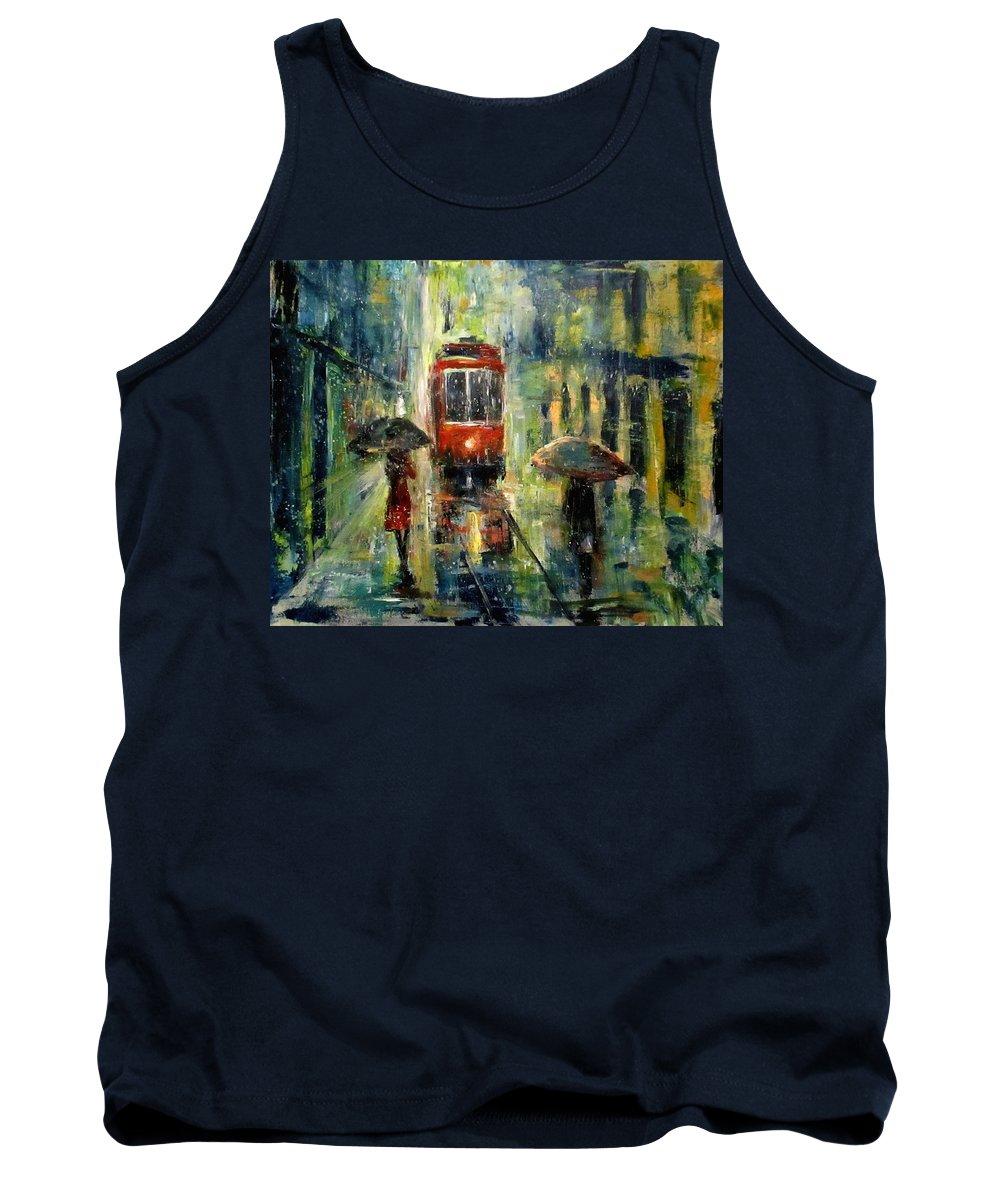 Landscape Tank Top featuring the painting Rainy Fantasy by Natalja Picugina