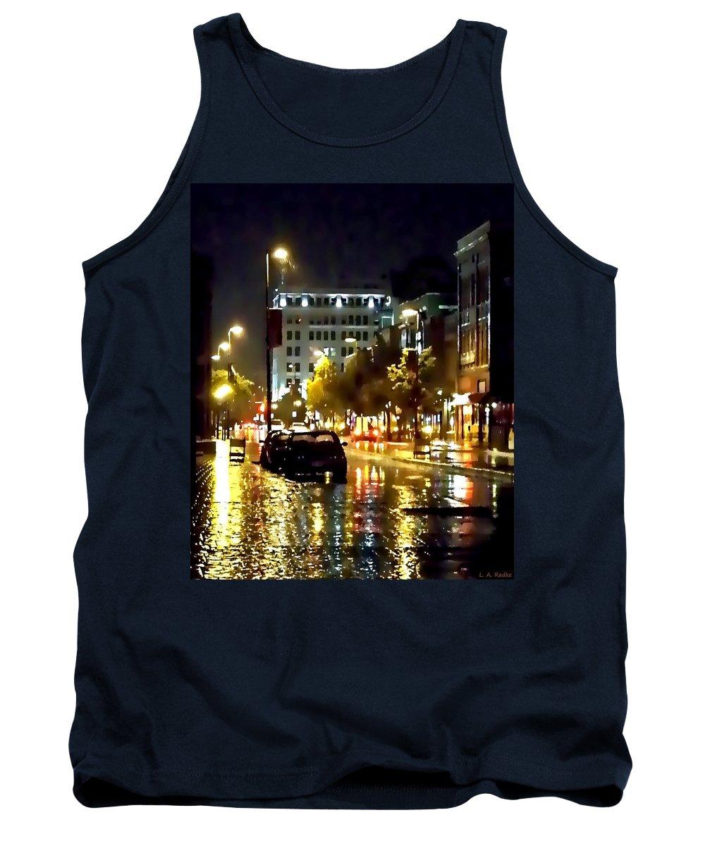 Lauren Radke Tank Top featuring the photograph Rainy Night In Green Bay by Lauren Radke