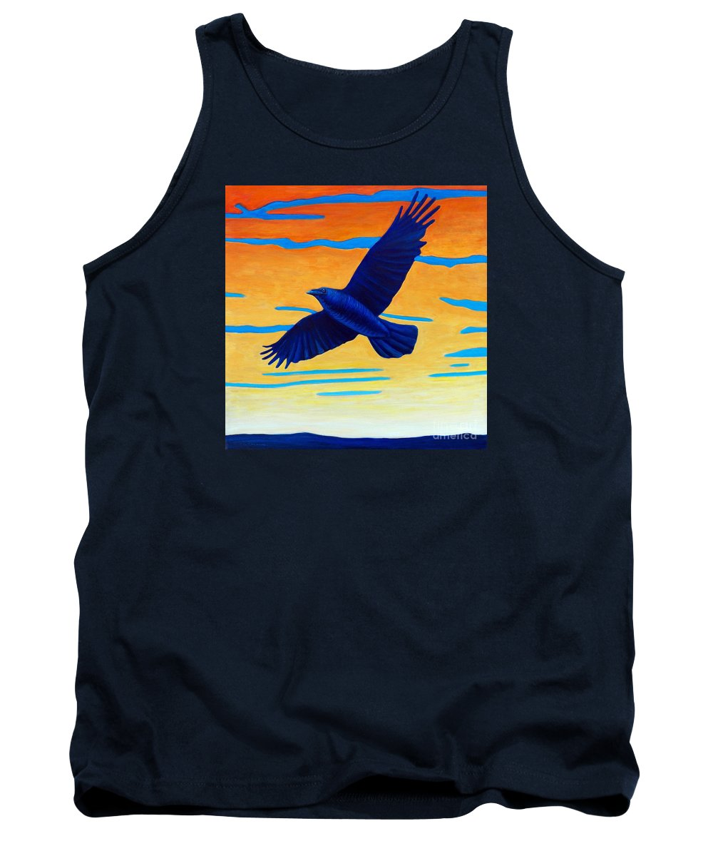 Raven Tank Top featuring the painting Raven Rising by Brian Commerford