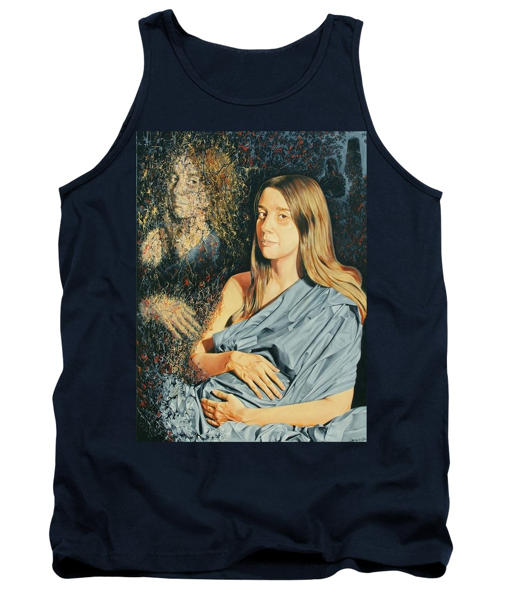 Surrealism Tank Top featuring the painting Reconstruction Of The Classical Madonna by Darwin Leon