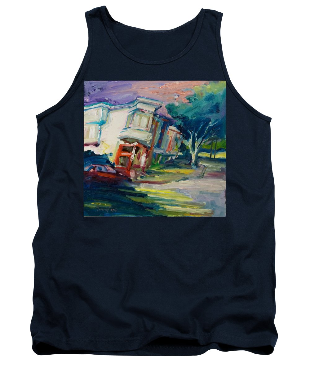Trees Tank Top featuring the painting Red Cafe by Rick Nederlof