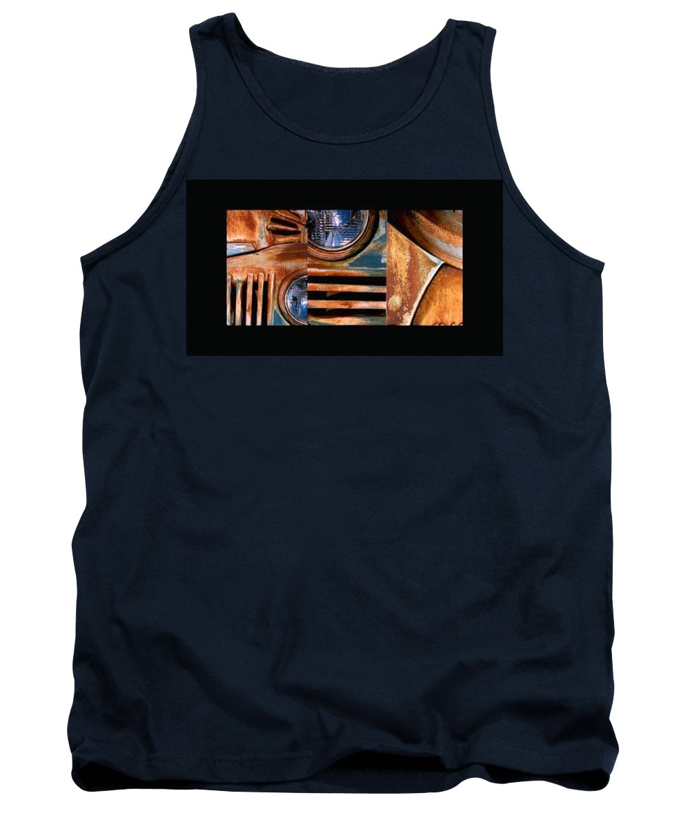 Abstract Photo Of Chevy Truck Tank Top featuring the photograph Red Head On by Steve Karol