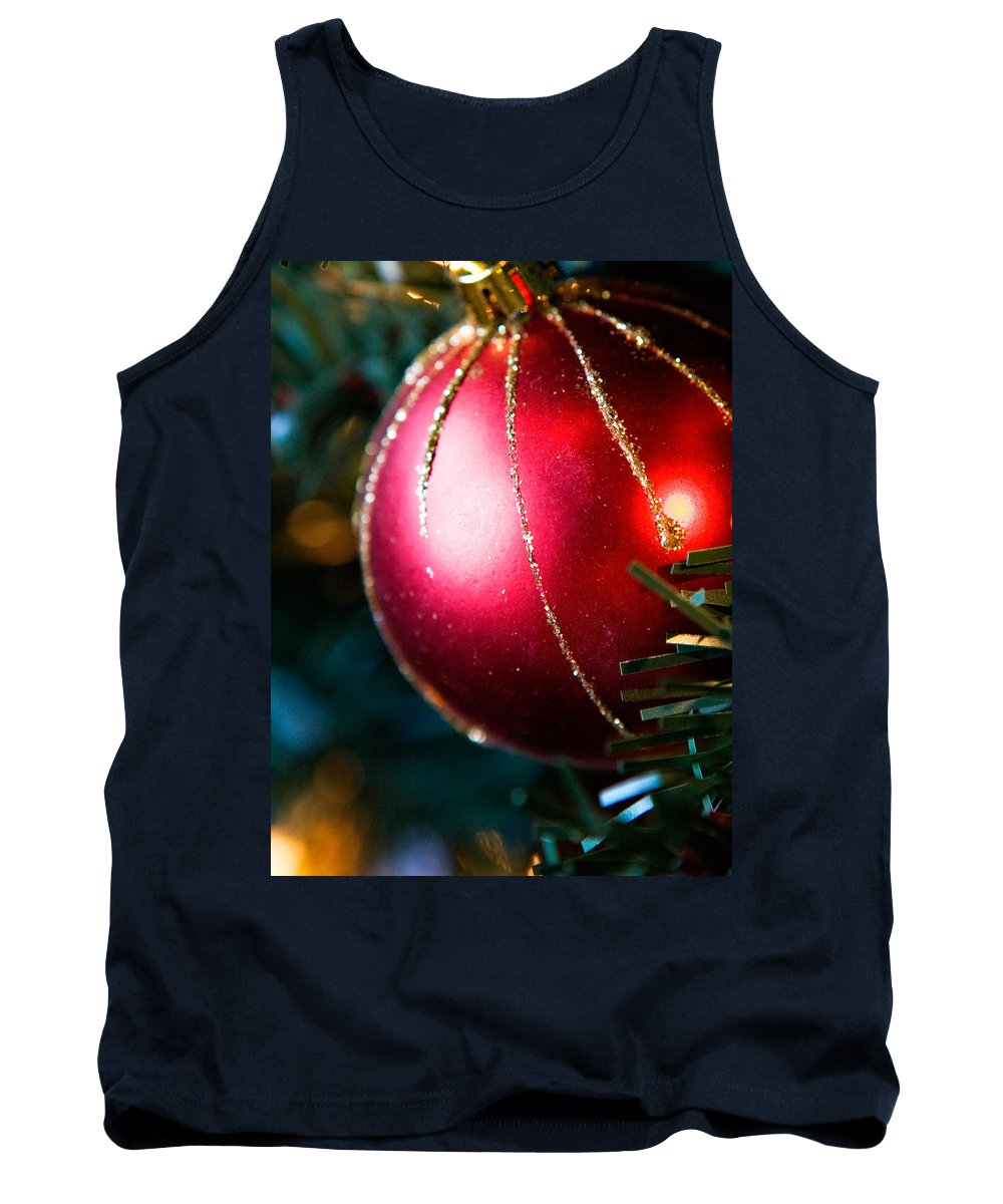 Red Tank Top featuring the photograph Red Shiny Ornament by Marilyn Hunt