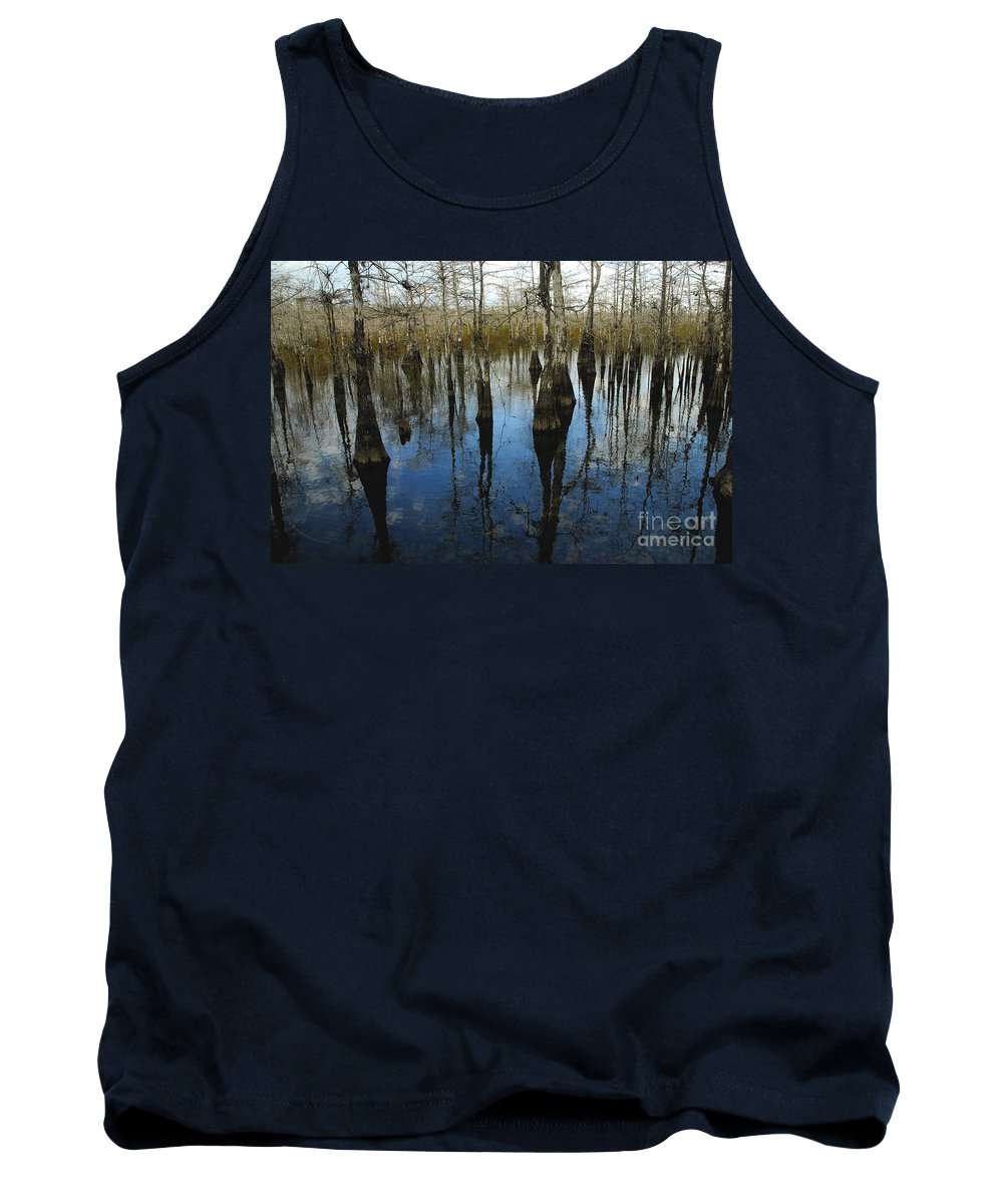 Bald Cypress Trees Tank Top featuring the photograph Reflections At Big Cypress by David Lee Thompson