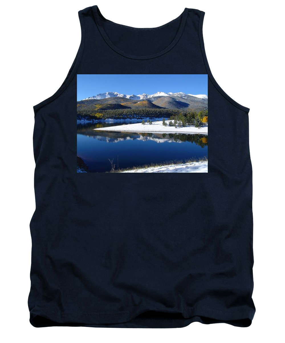 Landscape Tank Top featuring the photograph Reflections Of Pikes Peak In Crystal Reservoir by Carol Milisen