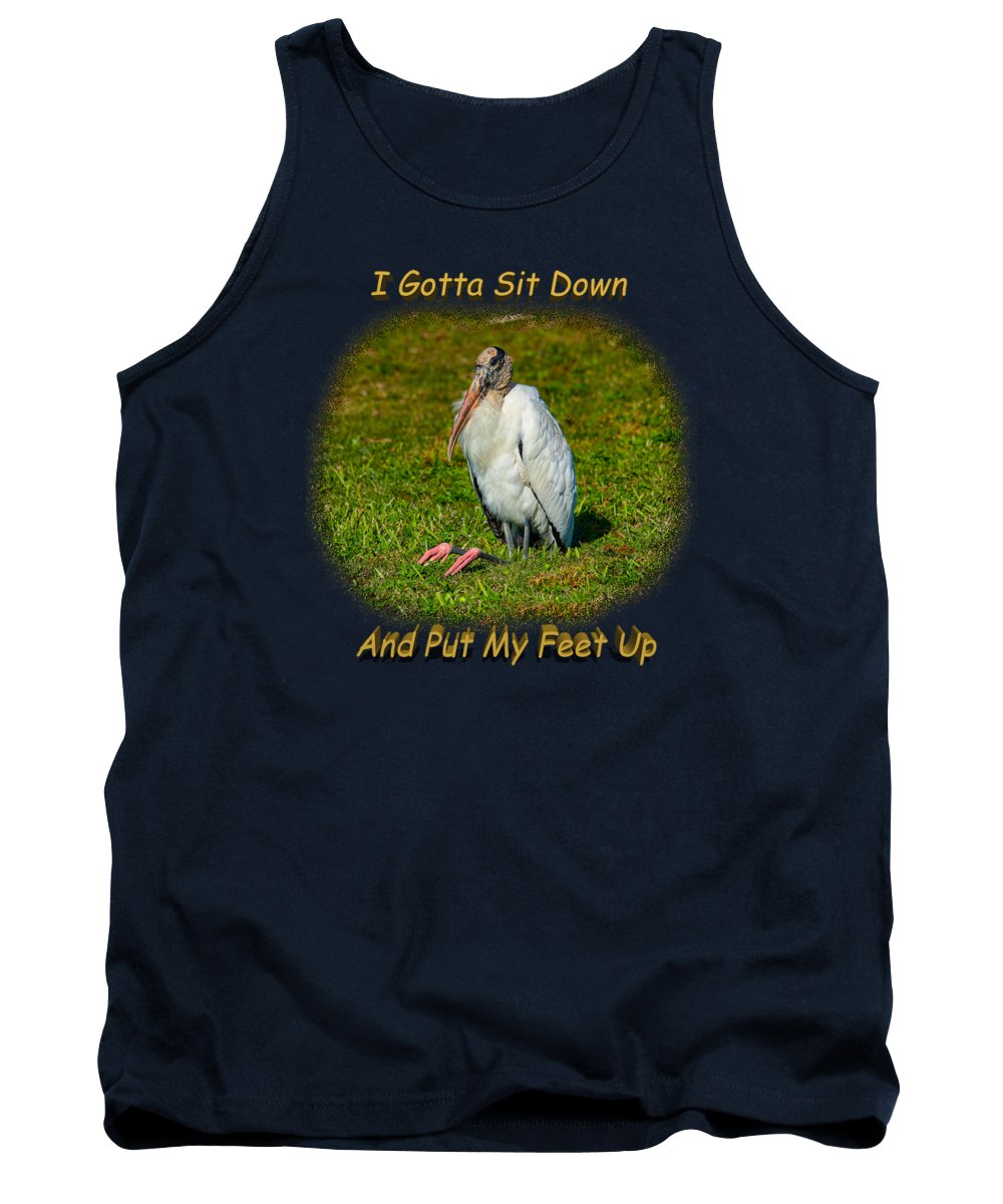 Shirts Tank Top featuring the photograph Resting Woodstork by John M Bailey