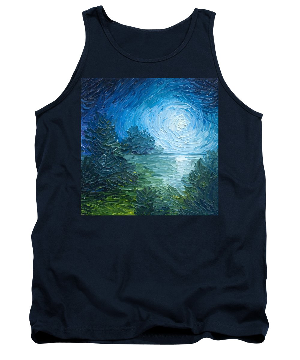 Nature; Lake; Sunset; Sunrise; Serene; Forest; Trees; Water; Ripples; Clearing; Lagoon; James Christopher Hill; Jameshillgallery.com; Foliage; Sky; Realism; Oils; Moon; Moonlight; Reflection; Blue; Lapis Tank Top featuring the painting River Moon by James Christopher Hill