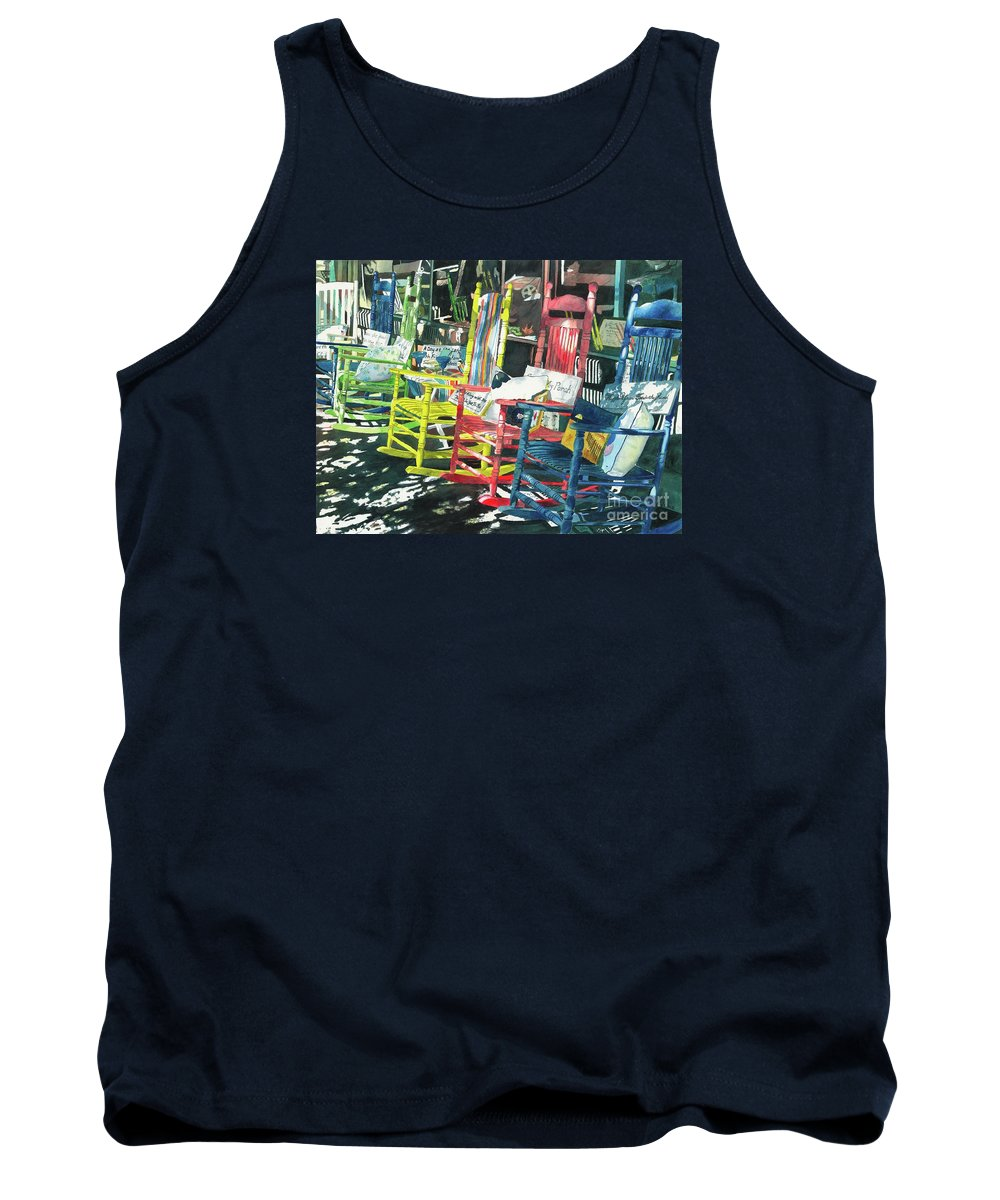 Chairs Tank Top featuring the painting Rock On by LeAnne Sowa