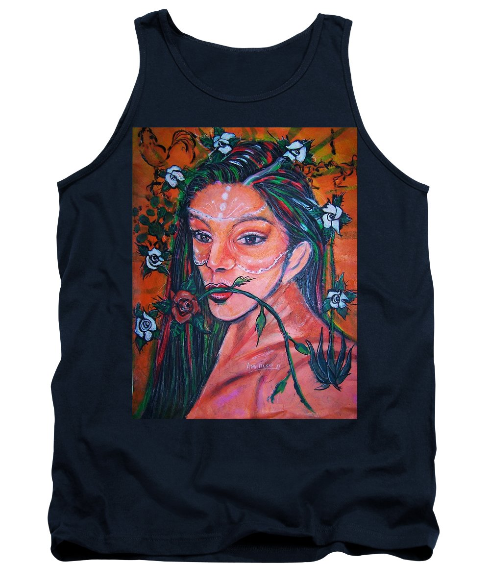 Latina Tank Top featuring the painting Rosales Latina by Americo Salazar