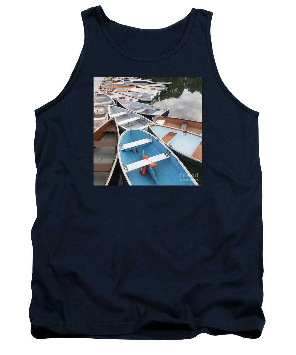 Quissett Harbor Tank Top featuring the photograph Rowboats In Quissett Harbor by Ronald Wilson