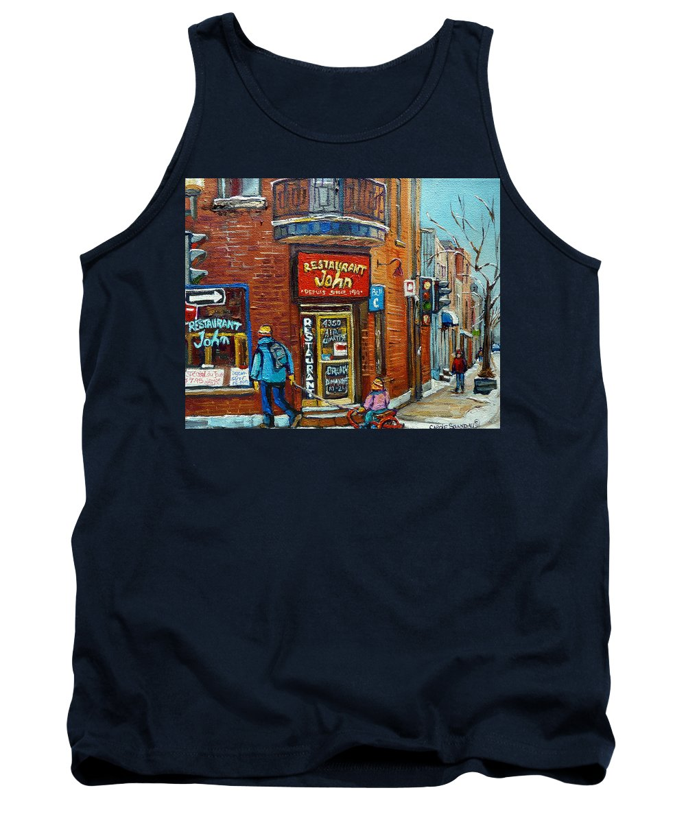 Restaurant John Montreal Tank Top featuring the painting Saint Henri Street In Winter by Carole Spandau