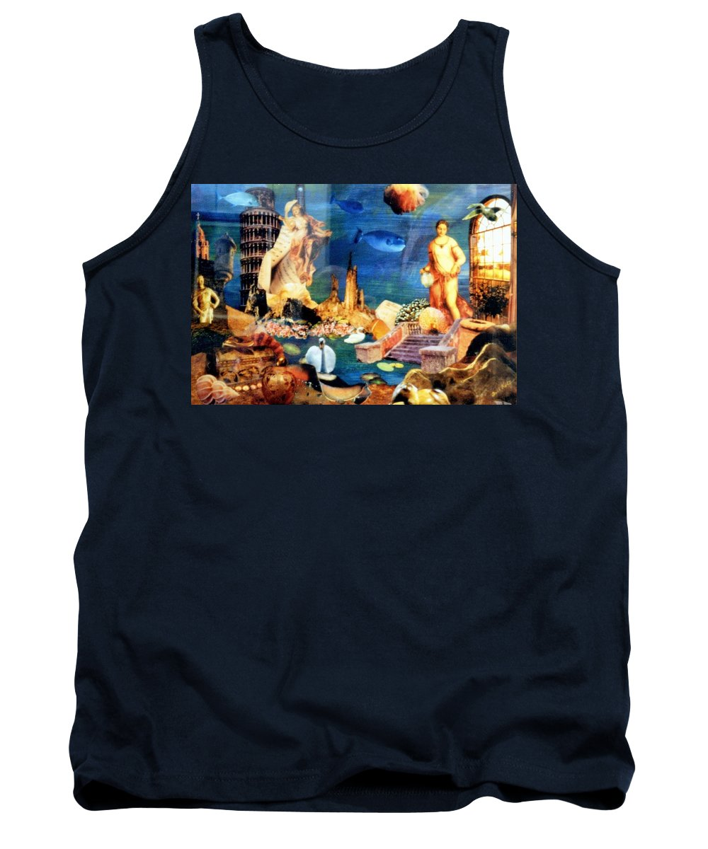 Fantasy Tank Top featuring the painting Sea Garden by Gail Kirtz
