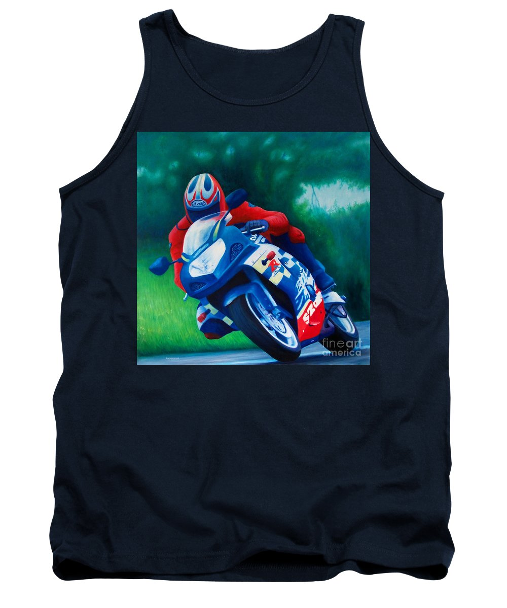 Motorcycles Tank Top featuring the painting Second Gear - Suzuki Gsx600 by Brian Commerford