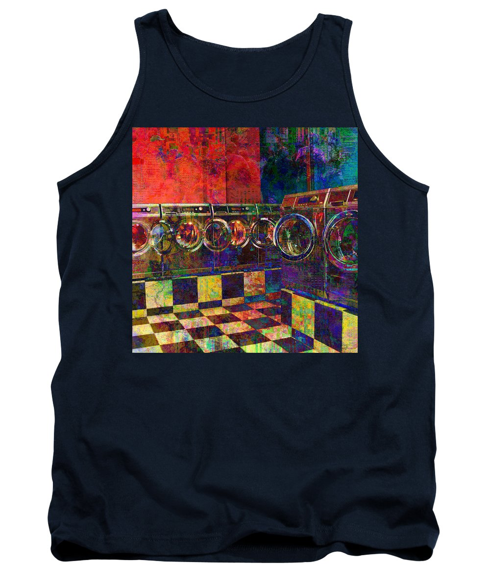 Laundry Tank Top featuring the digital art Secret Life Of Laundromats by Barbara Berney