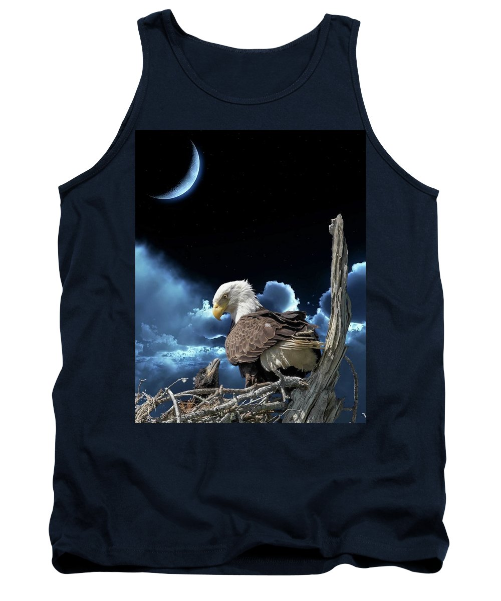 Birds Tank Top featuring the photograph Seeing Eye To Eye Under The Moonlight by Tony Fruciano