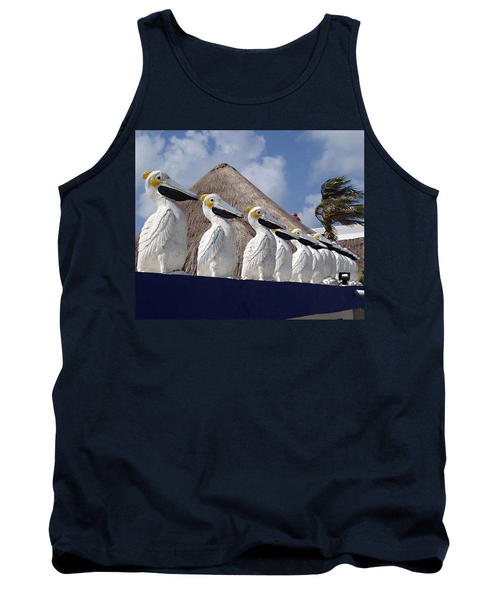Sentry Pelicans Tank Top featuring the photograph Sentry Pelicans by Ellen Henneke