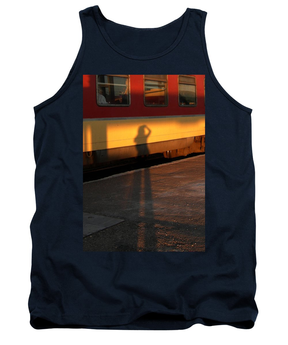 Tank Top featuring the photograph Shadows On The Platform 2 by Fay Lawrence