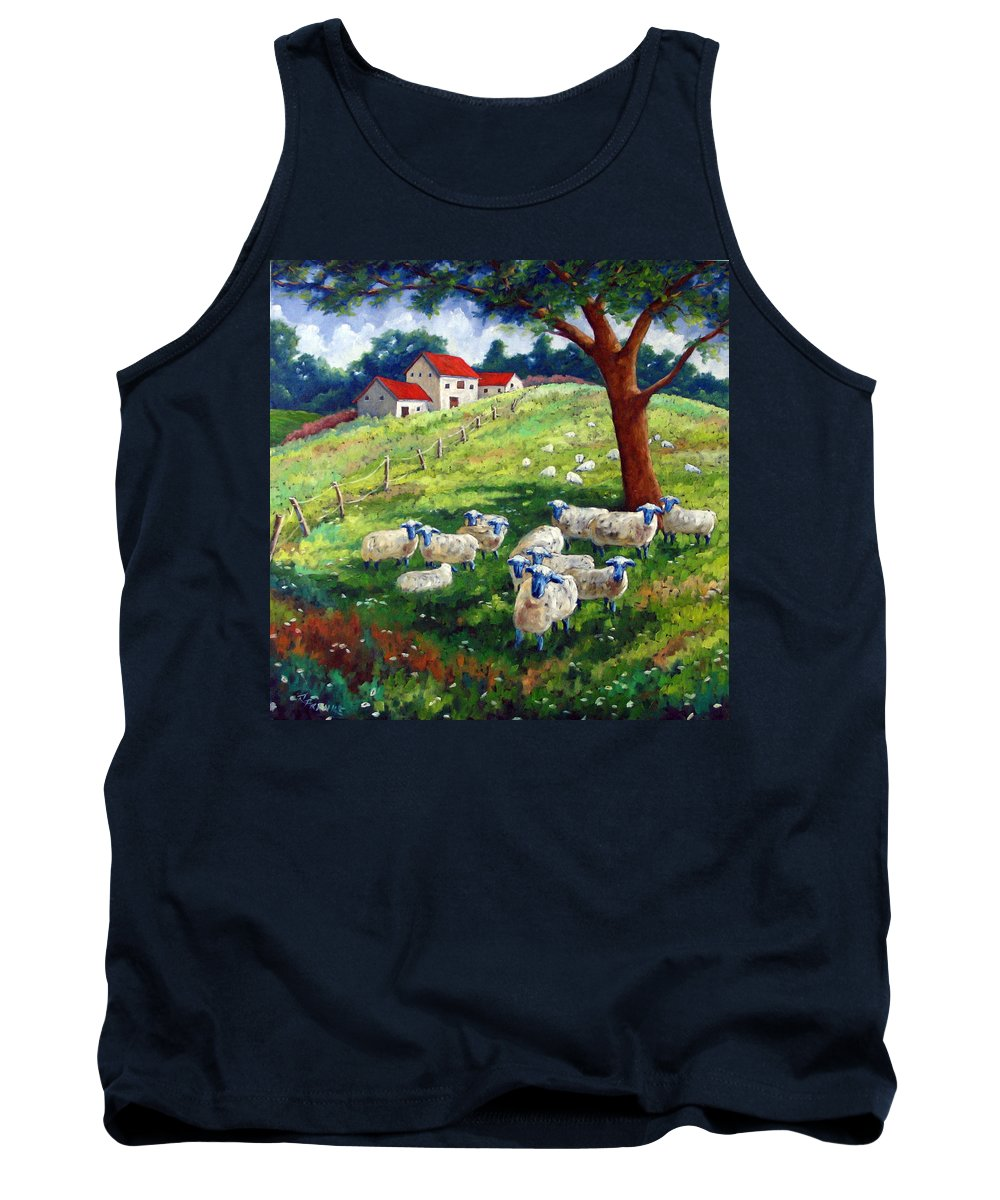 Sheep Tank Top featuring the painting Sheeps In A Field by Richard T Pranke
