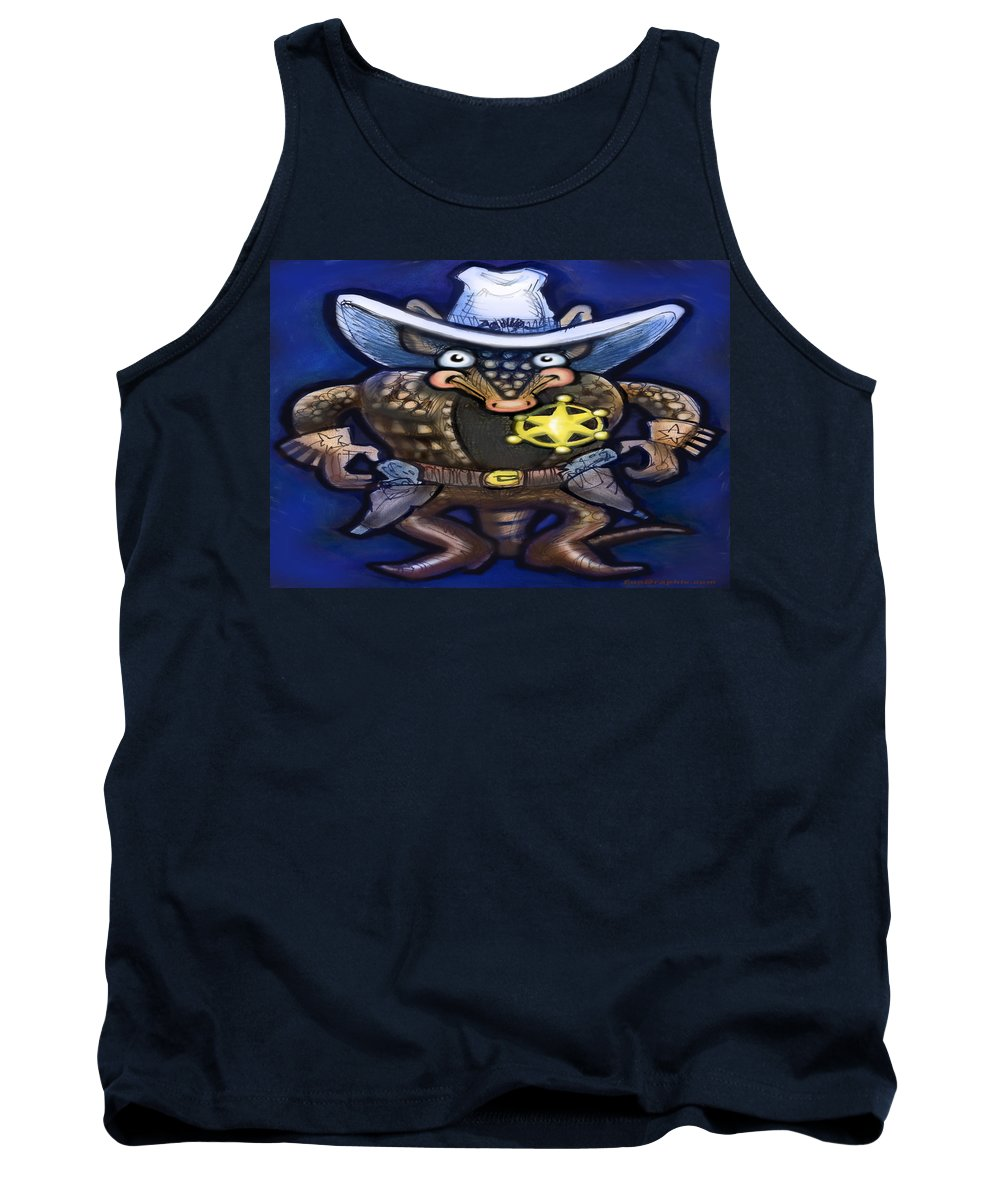 Sheriff Tank Top featuring the digital art Sheriff Dillo by Kevin Middleton