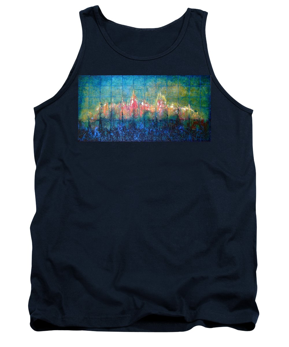 Seascape Tank Top featuring the painting Shorebound by Shadia Derbyshire