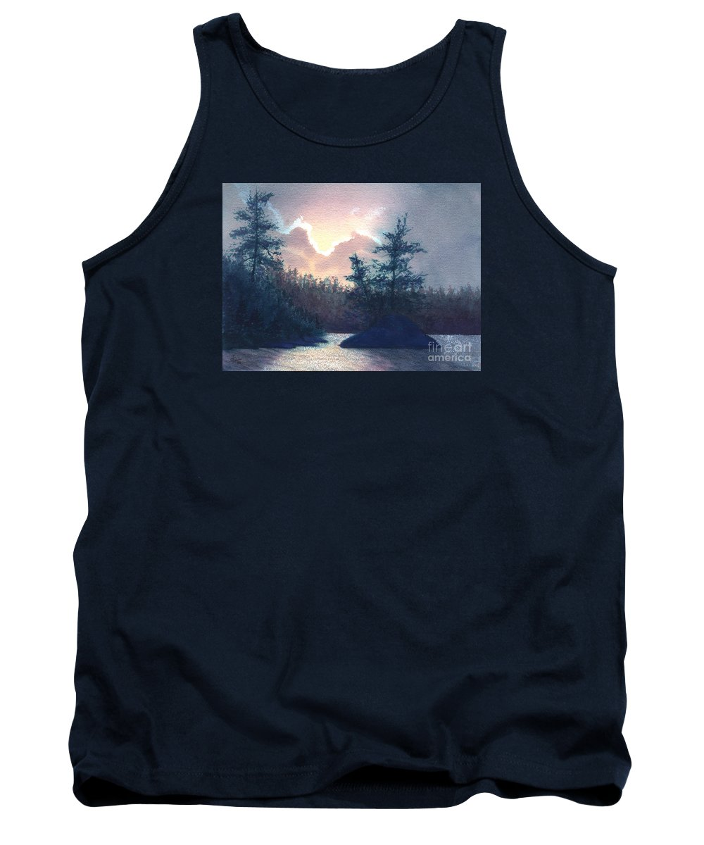 Landscape Tank Top featuring the painting Silver Lining by Lynn Quinn