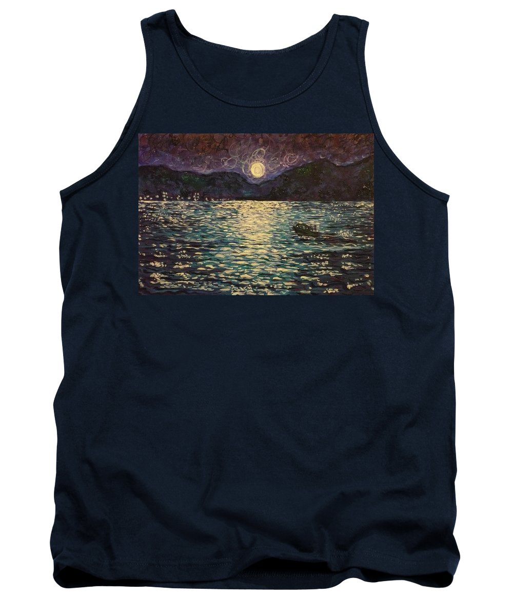 Landscape Tank Top featuring the painting Silver Sea by Ericka Herazo
