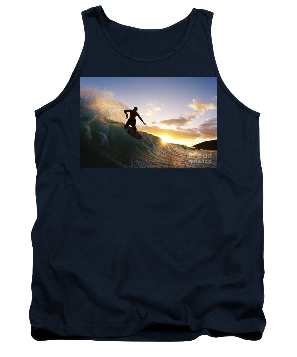 Action Tank Top featuring the photograph Skimboarding At Sunset I by MakenaStockMedia - Printscapes