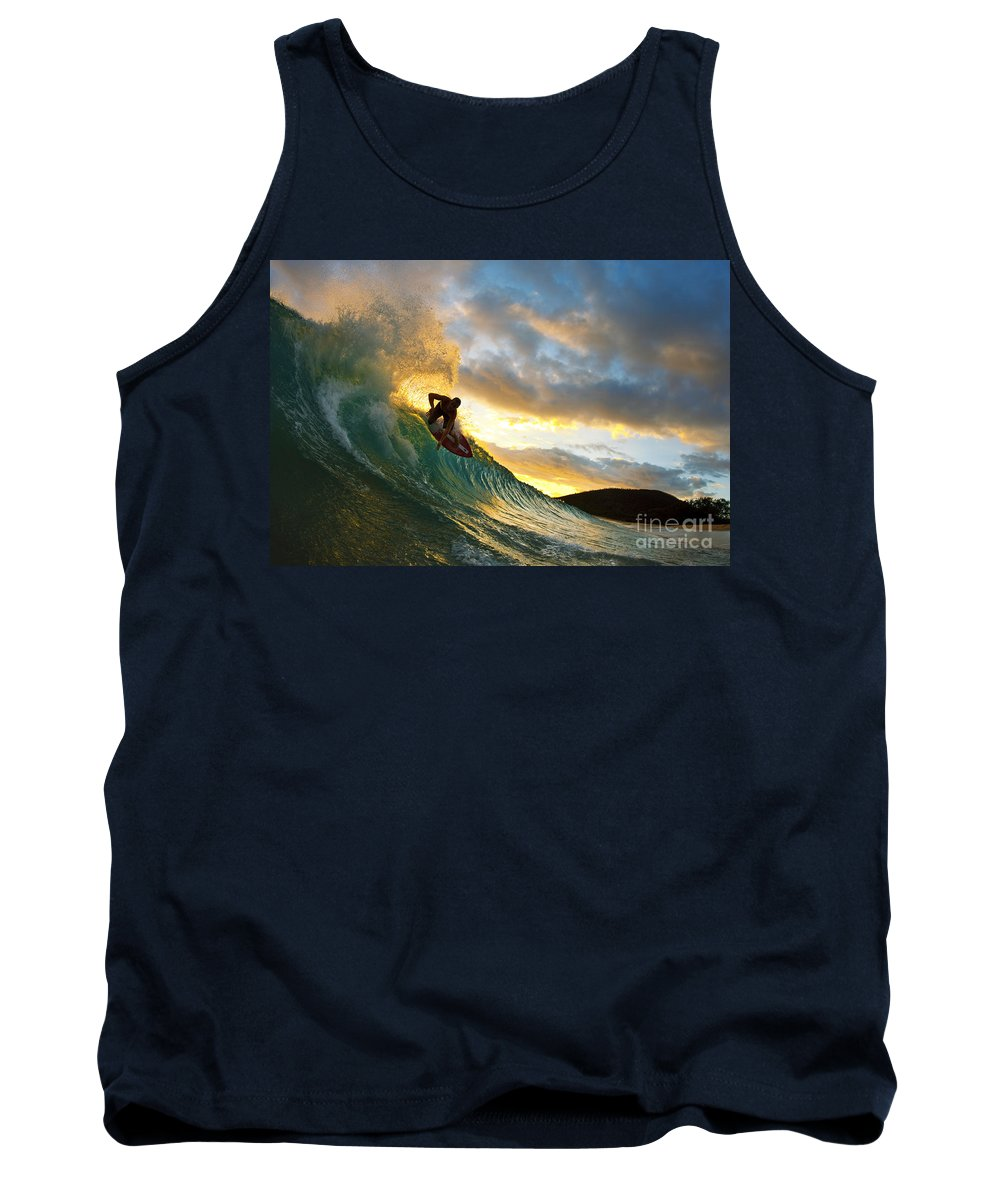 Action Tank Top featuring the photograph Skimboarding At Sunset II by MakenaStockMedia - Printscapes