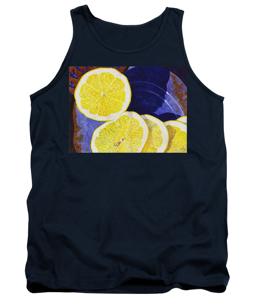 Lemon Tank Top featuring the painting Slices by Catherine G McElroy