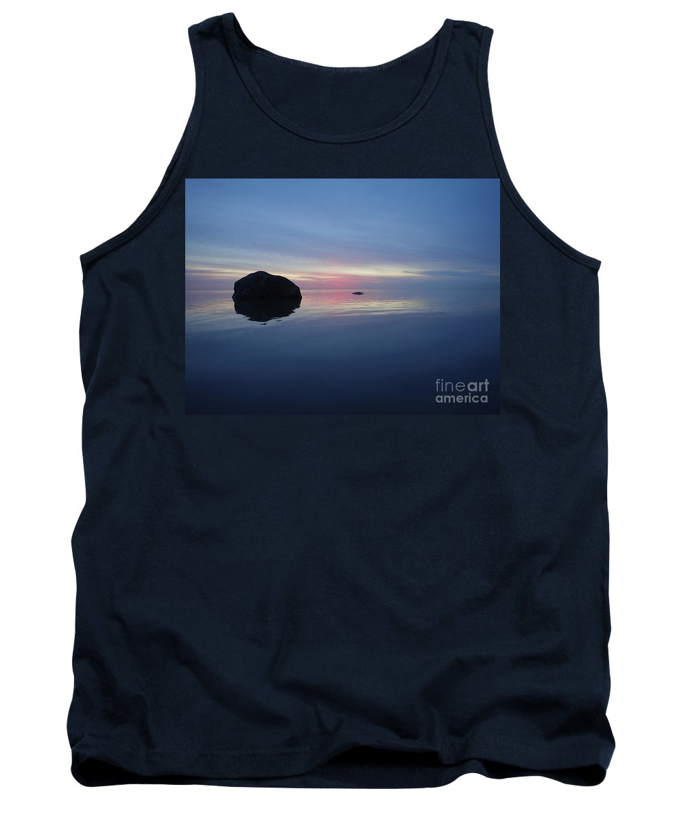 Sunrise Tank Top featuring the photograph Smooth Blue Sunrise On Lake Michigan by Eric Curtin
