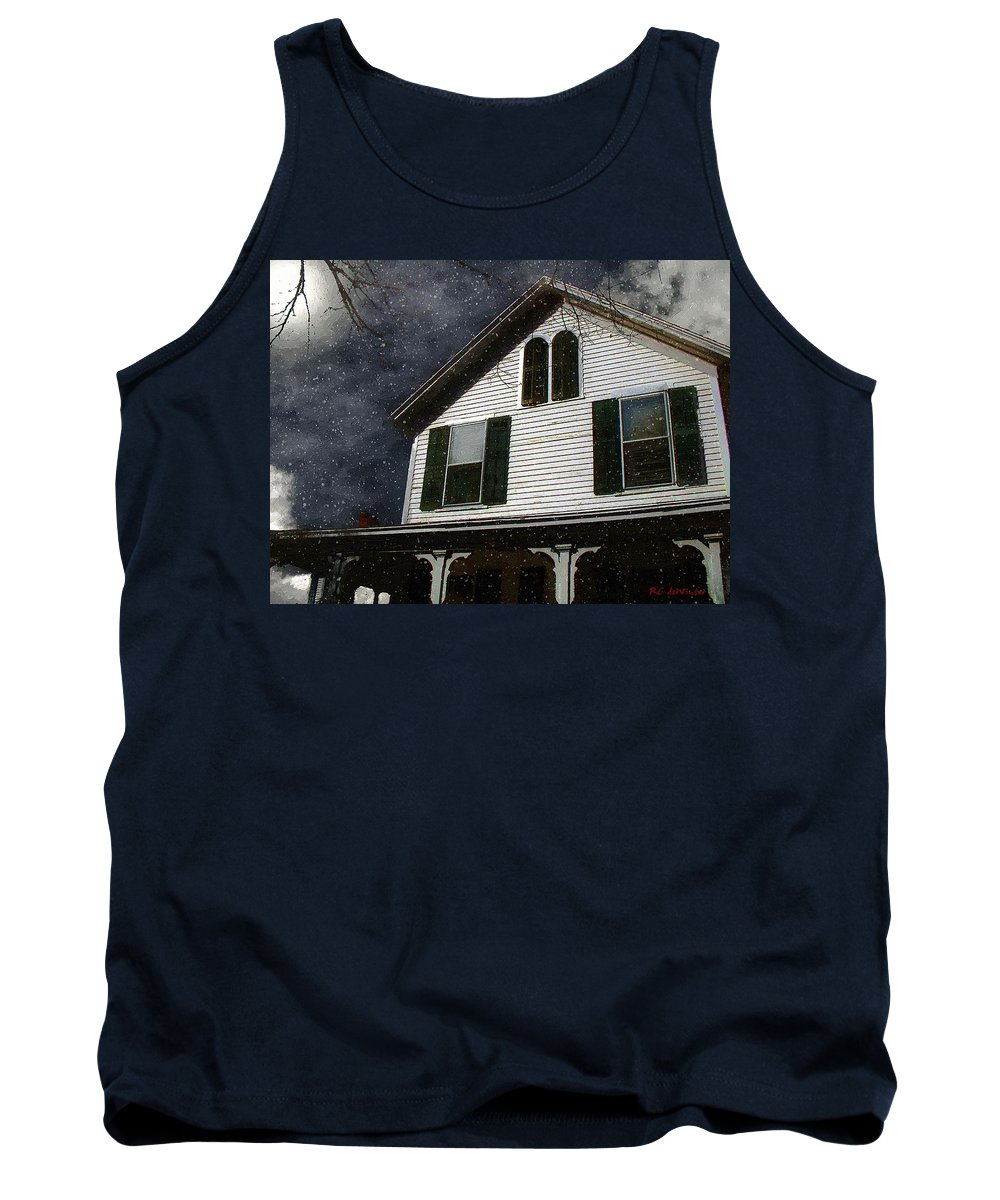 Clouds Tank Top featuring the painting Snowstorm In From The Sound by RC DeWinter