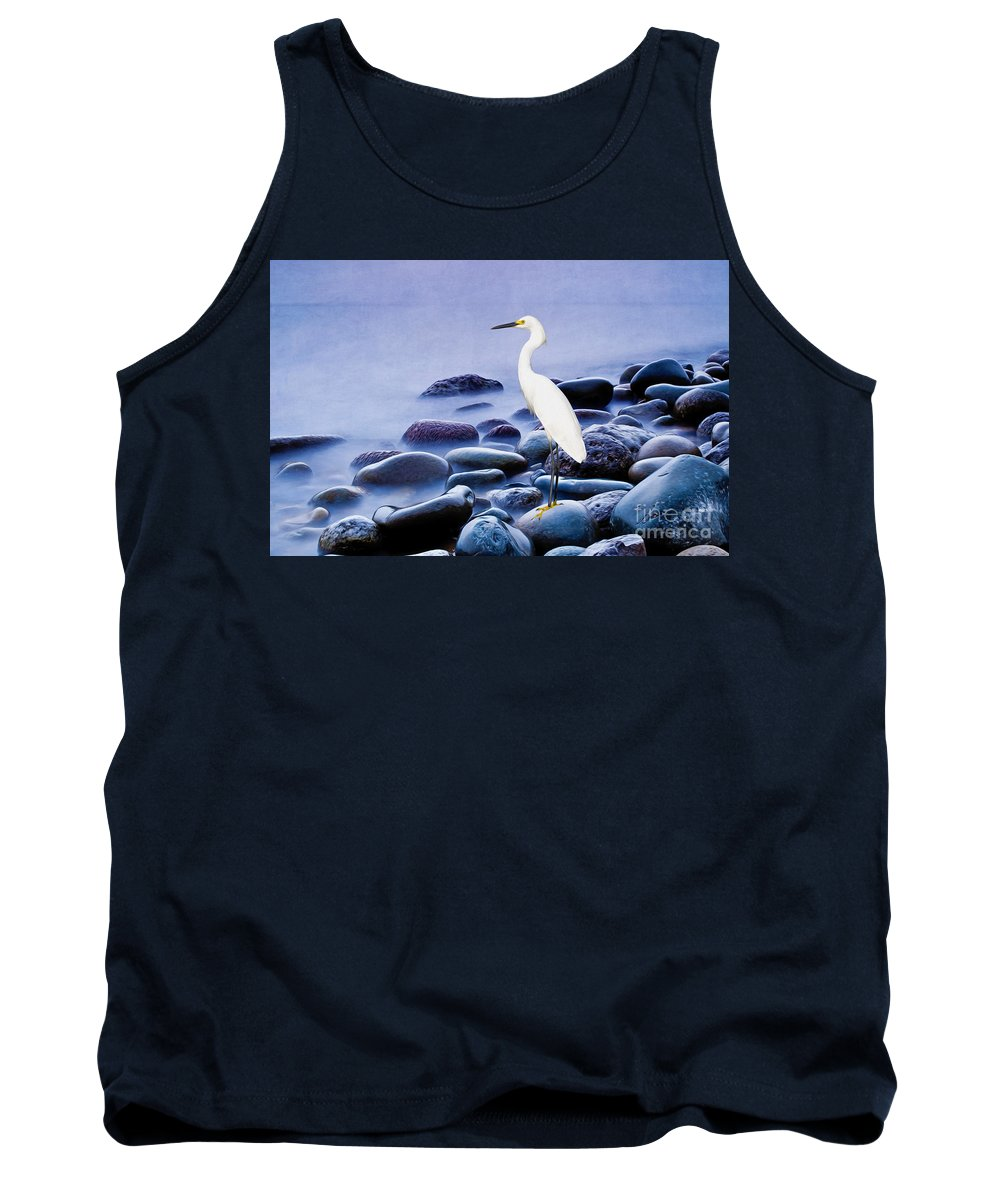 Snowy Egret Tank Top featuring the photograph Snowy Egret On The Rocks by Laura D Young
