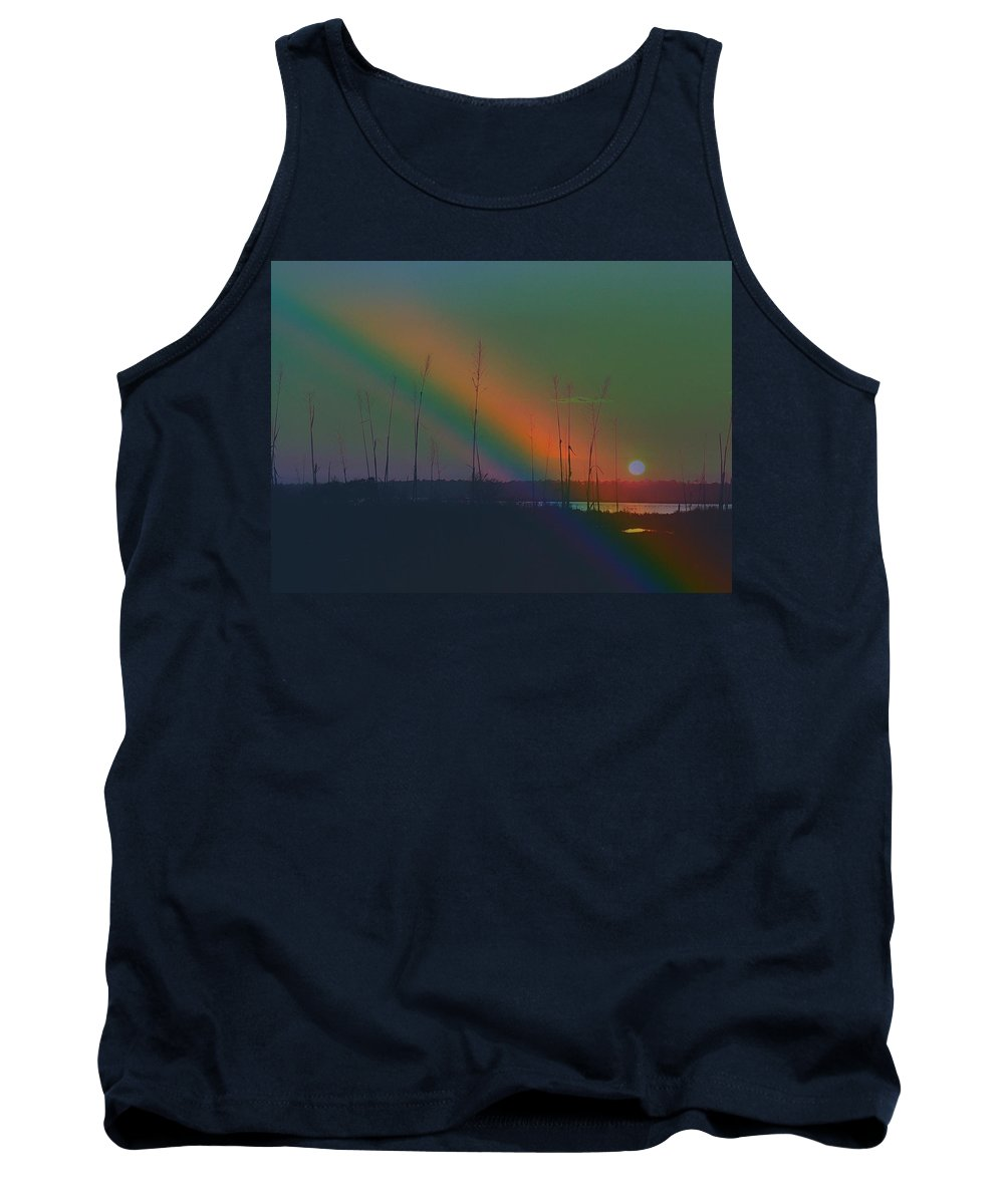 Rainbow Tank Top featuring the mixed media Somewhere by Patricia Black