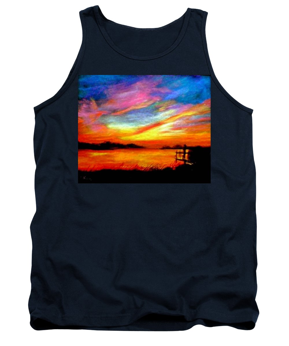 Sunset Tank Top featuring the painting Southern Sunset by Gail Kirtz
