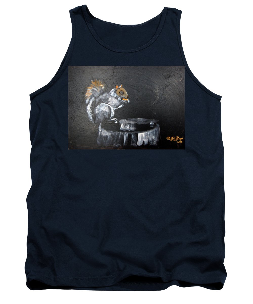 Squirrel Tank Top featuring the painting Squirrel by Richard Le Page