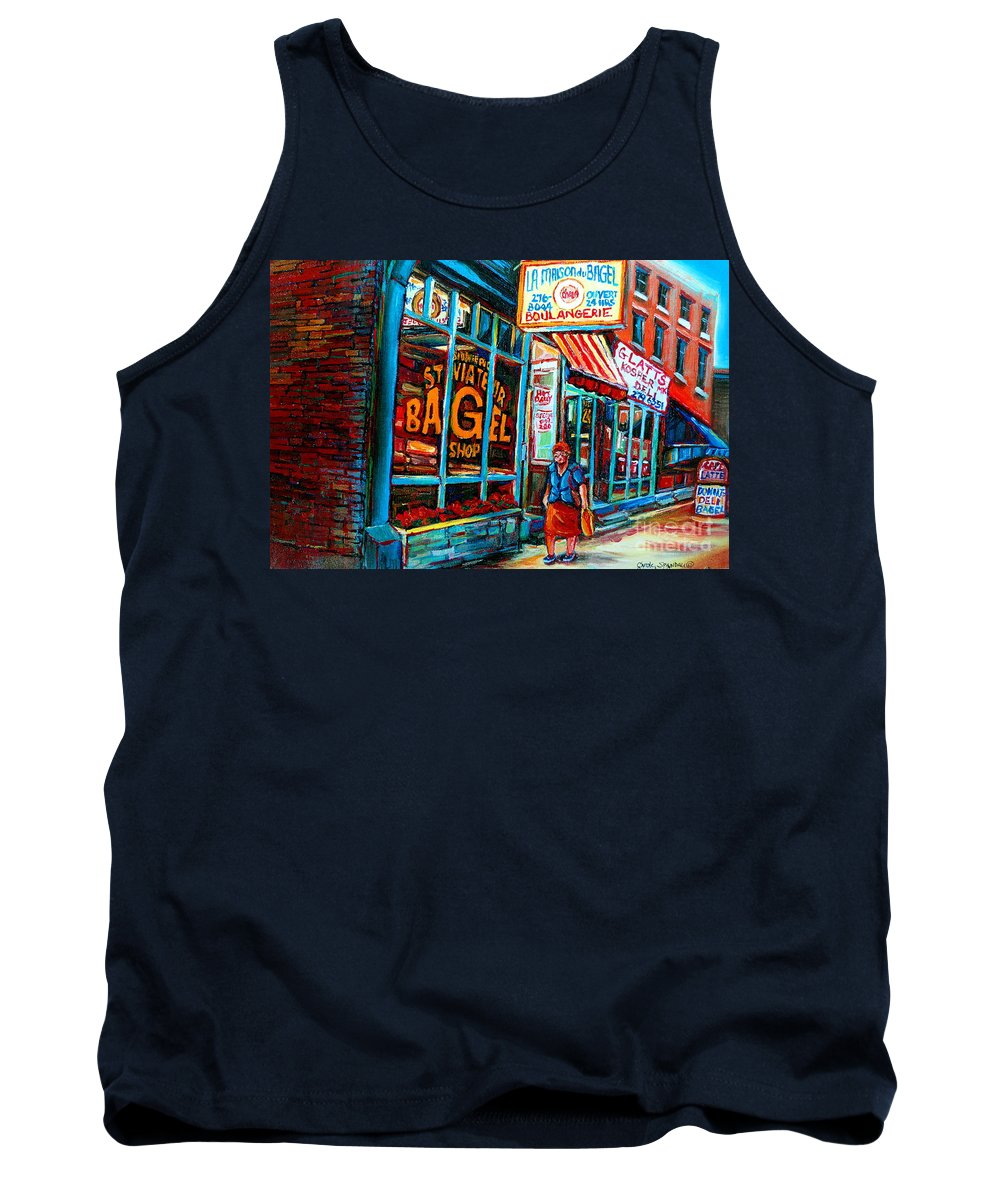 St Tank Top featuring the painting St. Viateur Bagel Bakery by Carole Spandau