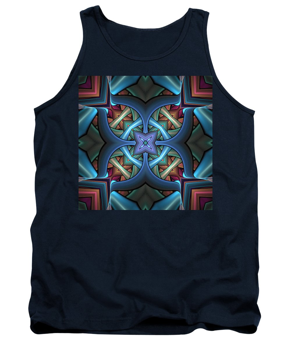Digital Art Tank Top featuring the digital art Stacked Kaleidoscope by Amanda Moore