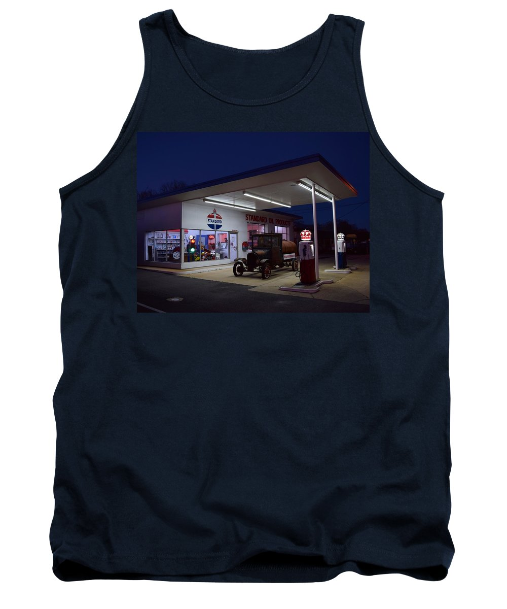 Standard Oil Museum Tank Top featuring the photograph Standard Oil Museum After Dark 19 by Timothy Smith