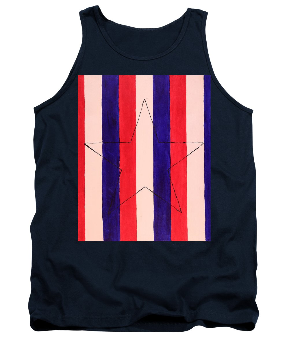 Star Tank Top featuring the painting Star And Stripes by David Stasiak
